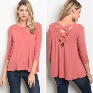 Tops - Mauve Crossed Back Top